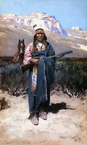 Henry F Farney Indian Brave - Hand Painted Oil Painting
