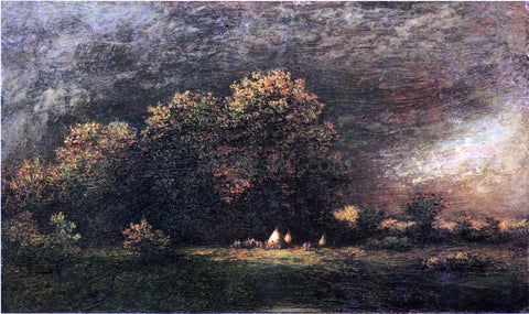 Ralph Albert Blakelock Indian Encampment in a Stormy Landscape - Hand Painted Oil Painting