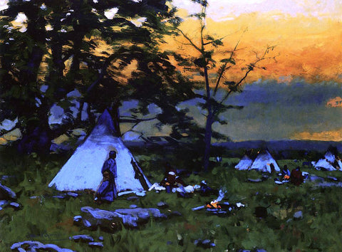 William Gilbert Gaul Indian Encampment, Montana - Hand Painted Oil Painting