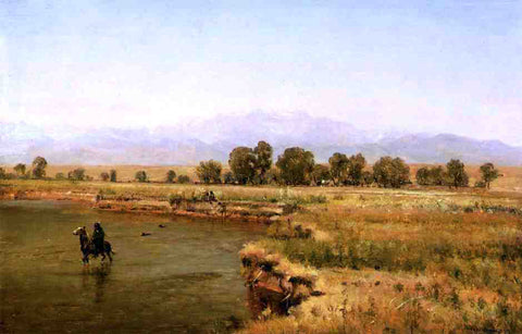 Thomas Worthington Whittredge Indian Encampment on the Platte River, Colorado - Hand Painted Oil Painting