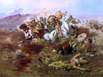 Charles Marion Russell Indian Fight, #1 - Hand Painted Oil Painting