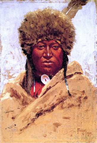 Henry F Farney Indian Head - Hand Painted Oil Painting