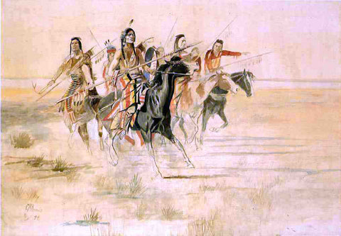 Charles Marion Russell Indian Hunt - Hand Painted Oil Painting