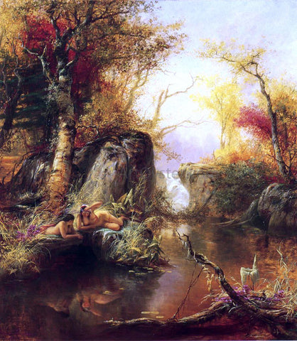 Jerome B. Thompson Indian Idyll - Hand Painted Oil Painting