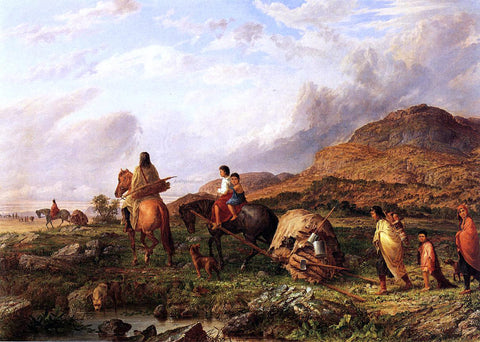 Seth Eastman Indian Mode of Transportation - Hand Painted Oil Painting