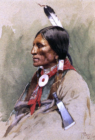 Henry F Farney Indian Portrait - Hand Painted Oil Painting