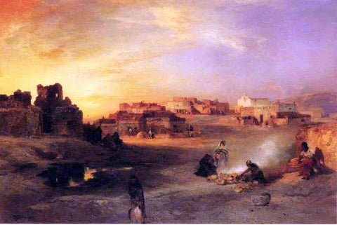 Thomas Moran Indian Pueblo, Laguna, New Mexico - Hand Painted Oil Painting