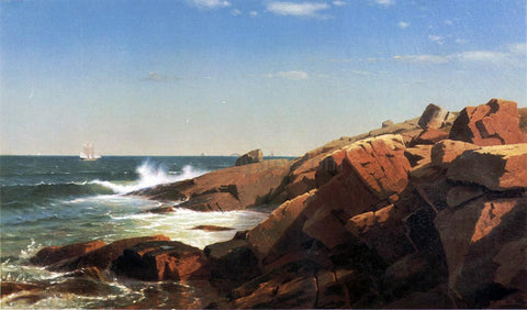 William Stanley Haseltine Indian Rock, Narragansett, Rhode Island - Hand Painted Oil Painting