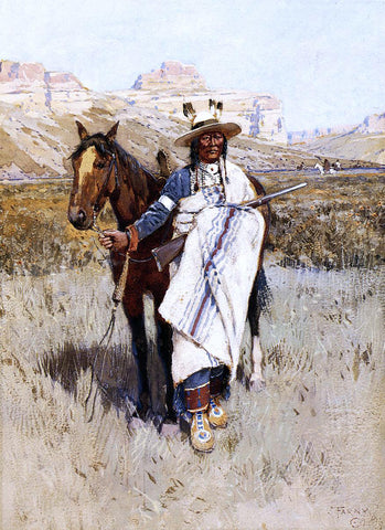 Henry F Farney Indian Scout - Hand Painted Oil Painting