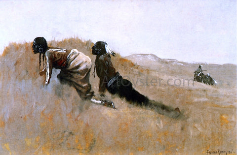 Frederic Remington Indian Scouts Watching Custer's Advance - Hand Painted Oil Painting