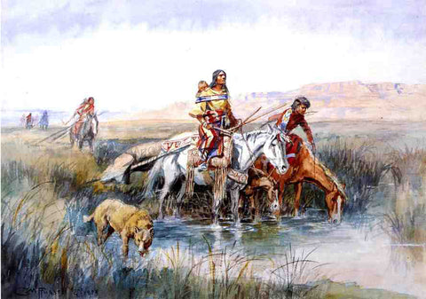 Charles Marion Russell Indian Women Moving Camp - Hand Painted Oil Painting