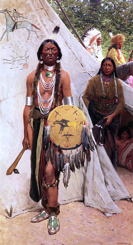 Henry F Farney Indians - Hand Painted Oil Painting