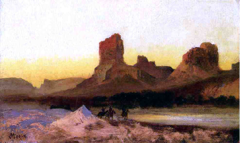 Thomas Moran Indians at the Green River - Hand Painted Oil Painting