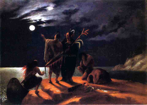 William Rimmer Indians Experiencing a Lunar Eclipse - Hand Painted Oil Painting