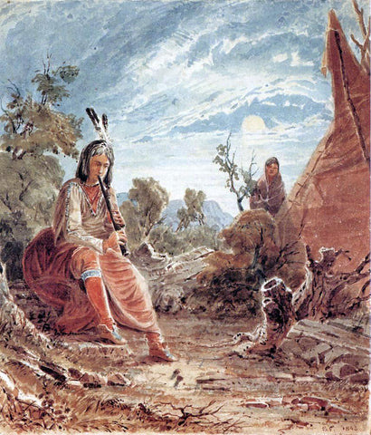 Seth Eastman Indians in Camp - Hand Painted Oil Painting