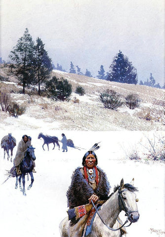 Henry F Farney Indians in Winter - Moving Camp - Hand Painted Oil Painting