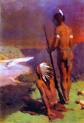Thomas Pollock Anschutz Indians on the Ohio - Hand Painted Oil Painting