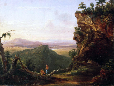 Thomas Cole Indians Viewing Landscape - Hand Painted Oil Painting