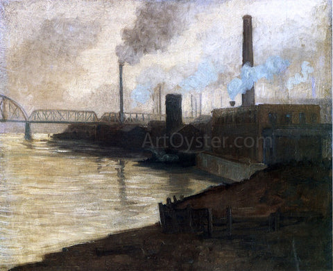 Aaron Harry Gorson Industrial Scene - Mills on the Monongahela - Hand Painted Oil Painting