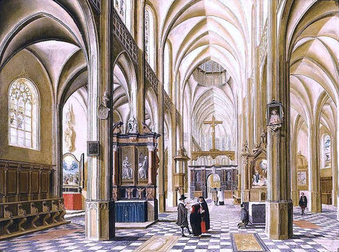 Bartholomeus Van Bassen Interior of a Gothic Cathedral - Hand Painted Oil Painting