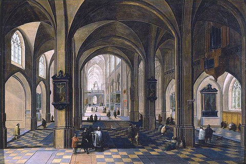 The Elder Peeter Neeffs Interior of a Gothic Cathedral - Hand Painted Oil Painting