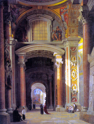 Heinrich Hansen Interior of St. Peters, Rome - Hand Painted Oil Painting