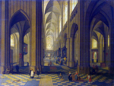 The Younger Peeter Neeffs Interior of the Antwerp Cathedral - Hand Painted Oil Painting