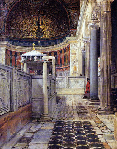 Sir Lawrence Alma-Tadema Interior of the Church of San Clemente, Rome - Hand Painted Oil Painting
