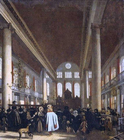 Emanuel De Witte Interior of the Portuguese Synagogue in Amsterdam - Hand Painted Oil Painting