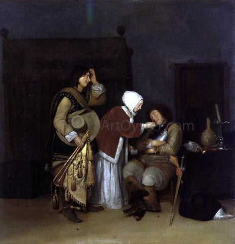 Caspar Netscher Interior with a Sleeping Soldier - Hand Painted Oil Painting