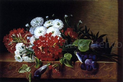 Johan Laurentz Jensen Iris, Dahlia, Pelargonium and Ivy Leaves on a Brown Marble Ledge - Hand Painted Oil Painting