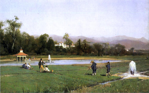 Thomas Hill Irrigating at Strawberry Farm - Hand Painted Oil Painting