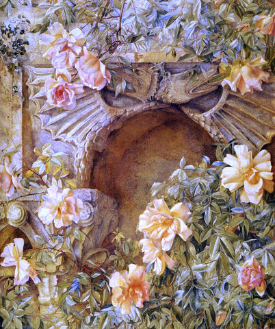 Henry Roderick Newman Italian Grotto (also known as Roses and Dragons) - Hand Painted Oil Painting