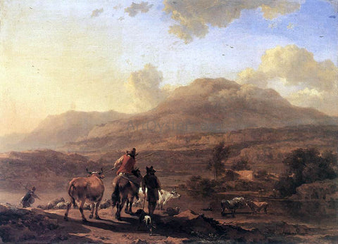 Nicolaes Berchem Italian Landscape at Sunset - Hand Painted Oil Painting
