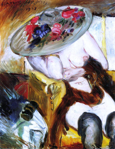Lovis Corinth Italian Woman in a Yellow Chair - Hand Painted Oil Painting