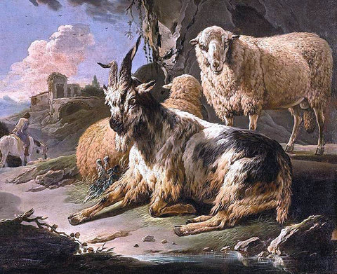 Philipp Peter Roos Italianate Landscape with a Goat and Sheep - Hand Painted Oil Painting
