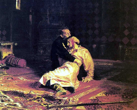 Ilia Efimovich Repin Ivan the Terrible and His Son Ivan on November 16, 1581 - Hand Painted Oil Painting