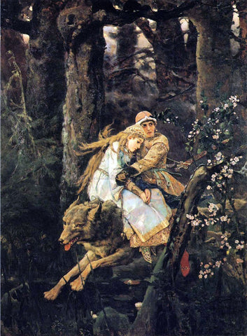 Victor Mikhail Vasnetsov Ivan Tsarevitch Riding the Grey Wolf - Hand Painted Oil Painting