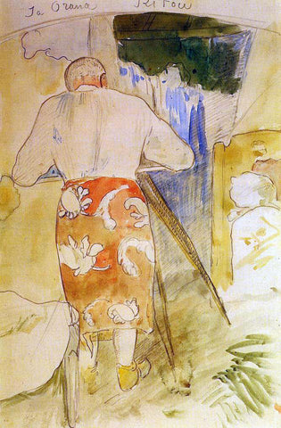Paul Gauguin Ja Orana Ritou (also known as Self Portrait of the Artist at His Drawing Table, Tahiti) - Hand Painted Oil Painting