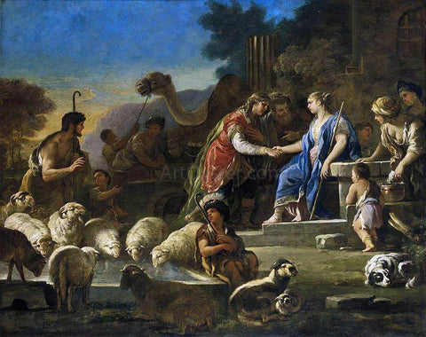 Luca Giordano Jacob and Rachel at the Well - Hand Painted Oil Painting