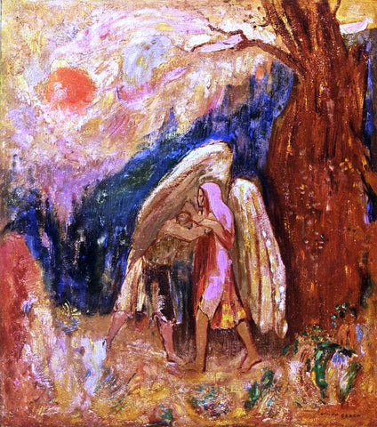 Odilon Redon Jacob Wrestling with the Angel - Hand Painted Oil Painting