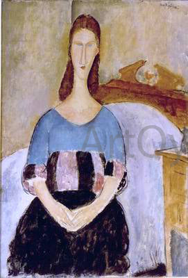 Amedeo Modigliani Jeanne Hebuterne, Seated - Hand Painted Oil Painting