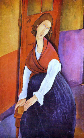 Amedeo Modigliani Jeanne Hebuterne (also known as In Front of a Door) - Hand Painted Oil Painting