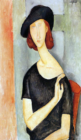 Amedeo Modigliani Jeanne Hebuterne in a Hat - Hand Painted Oil Painting
