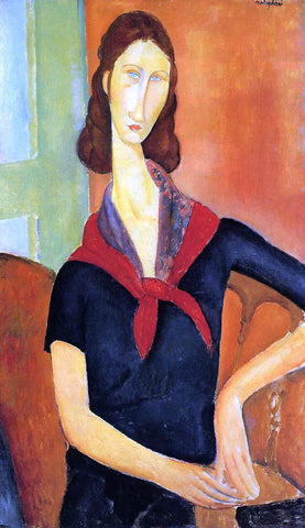 Amedeo Modigliani Jeanne Hebuterne in a Scarf - Hand Painted Oil Painting