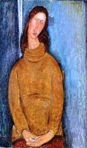 Amedeo Modigliani Jeanne Hebuterne in a Yellow Jumper - Hand Painted Oil Painting