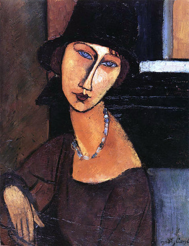 Amedeo Modigliani Jeanne Hebuterne with Hat and Necklace - Hand Painted Oil Painting
