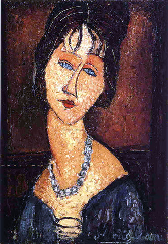 Amedeo Modigliani Jeanne Hebuterne with Necklace - Hand Painted Oil Painting