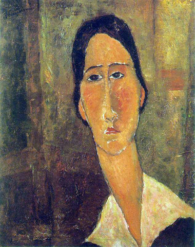 Amedeo Modigliani Jeanne Hebuterne with White Collar - Hand Painted Oil Painting