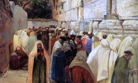 Gustav Bauernfeind Jews at the Wailing Wall - Hand Painted Oil Painting